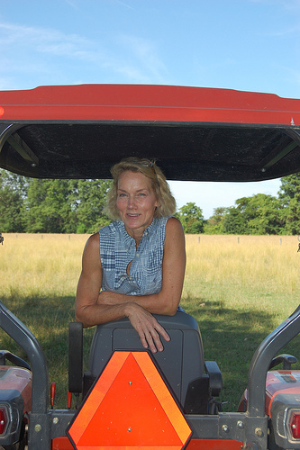 Val in tractor